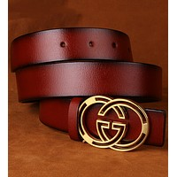 GUCCI male and female models pure leather belt leather smooth buckle buckle red belt
