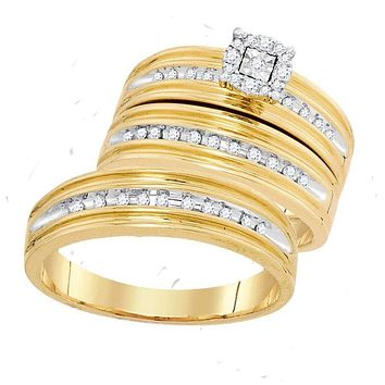 10kt Yellow Gold His & Hers Round Diamond Solitaire Matching Bridal Wedding Ring Band Set 1/3 Cttw - FREE Shipping (US/CAN)