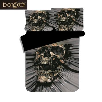 Cool Bonenjoy Latest Design Skull Bed Linen King Size Comforter Bedding Sets 3pcs Black Color Personality Duvet Cover Queen Bed SetAT_93_12