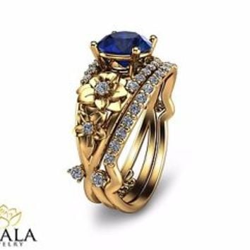 Bridal Set-14K Yellow Gold Blue Sapphire Engagement Ring-Unique Engagement Set