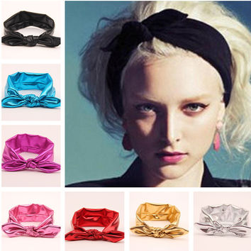 Retail Metallic colors leather women big elastic hair bows head wraps turban bands bandana headband headbands accessories td13