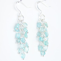 Blue Apatite Silver Metal Earrings - Summer, Spring, Fashion, Dangly, Aqua, Women's Fashion