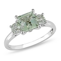 1 3/8 Carat Green Amethyst and Diamond 3-Stone Ring in 10k White Gold