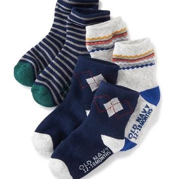 Old Navy Patterned Non Skid Socks 3 Pack