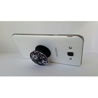 2X1 Pop Out Phone Grip and Stand, Mobile Holder for your Phone & Tablet  (Black& White flowers)