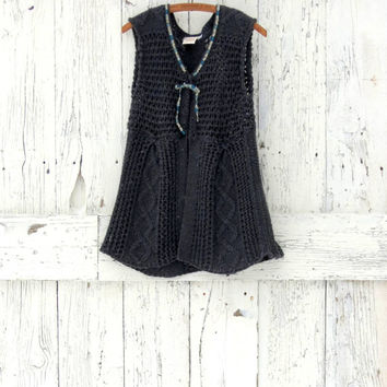 Upcycled Sweater Vest- Women's slate gray baby doll sweater- Grey Indie Fashion- Recycled knit vest- Winter sweater vest