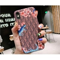 DIOR Tide brand floral dinosaur print iPhone7plus mobile phone case cover #1