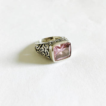 Statement Ring with Soft Pink Bezel Set Rectangular Gemstone, Sterling Silver Filigree Style Setting, Boho Style - Size 6.75