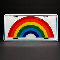 70s Rainbow Car Vanity License Plate Novelty Vintage Graphic Retro Vehicle Accessories Metal Wall Sign Decor Hanging LGBTQ Pride
