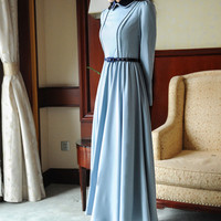 Peter Pan Collar Zipper Closure Paneled Maxi Dress