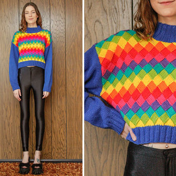Vintage 90s Robinsons Chunky Diamond Checker Cable Knit Neon Rainbow Striped LGBTQ Stripe Geometric Crop Long Sleeve Crew neck Sweater S M L