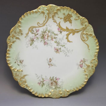 Antique Limoges LS&S France Cabinet Plate Pink Roses Green Porcelain Gilded