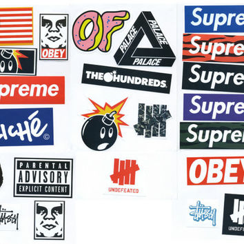 Supreme Sticker Pack - 23 Stickers - FREE SHIPPING WORLDWIDE - Skateboard, Car Bumper, Guitar Case, Laptop Vinyl Decal Stickers