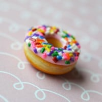 Strawberry Doughnut with Rainbow Sprinkles Polymer Clay Charm or Key Chain