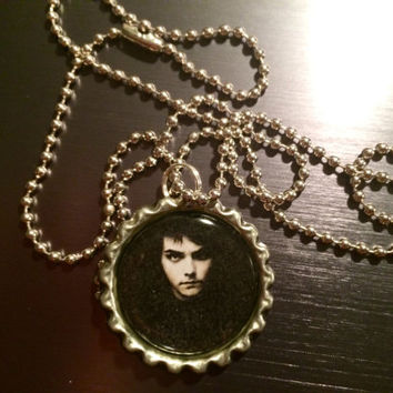 Gerard Way My Chemical Romance face bottlecap necklace