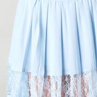 PLEATED LACE SKY BLUE SKIRT