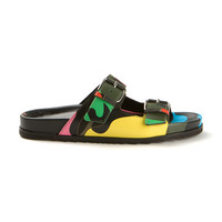 VALENTINO CAMO PRINTED LEATHER FLAT SANDALS