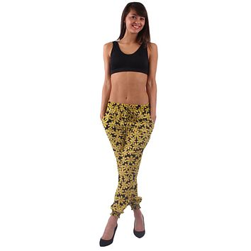 Black and Yellow Daisy Print Harem Style Jogger Pants