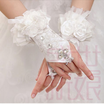 Guantes de novias 2015 Cutedream Bride Wedding Party Dress Fingerless Rhinestone Lace Satin Bridal Gloves Casamento G-10 = 1930313732