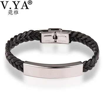 V.YA Valentine's Jewelry Leather Engraved Bracelets Bangle for Men Women Customized Personalized Bracelet Lover's Couples' Gift
