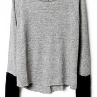 Light Grey Zippered Curved Hem Jumper - Sheinside.com