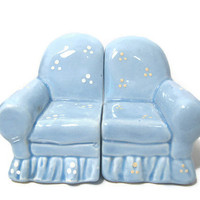 Vintage Light Blue Ceramic Couch Salt and Pepper Shaker Set The Good Company Korea