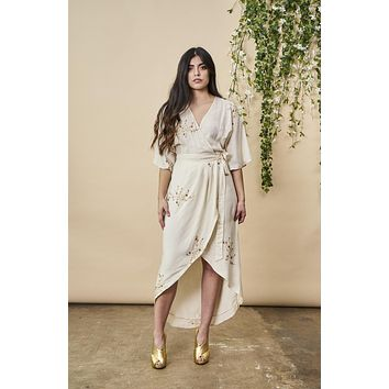 Hand Beaded Cherry Blossom Maxi Wrap in Ivory + Antique Gold