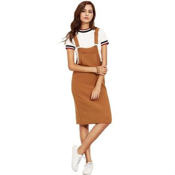 Corduroy Overall Dress With Pockets