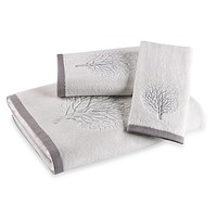 Laura Ashley Forest White/Silver Bath Towel Collection