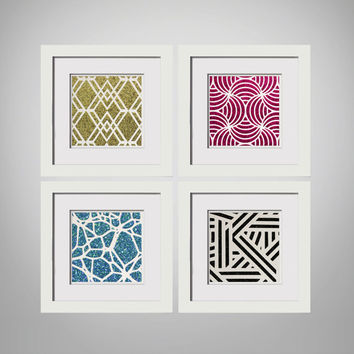 4 Piece - Framed Glitter Paper Cut Art - Glitter Art, Gallery Art, Art Set, Gallery Wall, Framed Art, Framed Gallery Wall, Dorm Decor, Teen