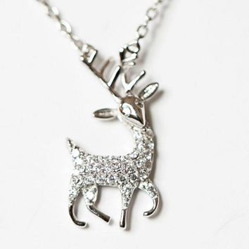 925 Sterling Silver Exquisite Deer Hypo-allergenic  Chain Pendant Necklace