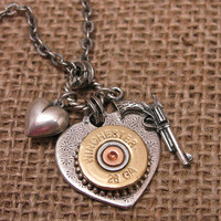 Shotgun Casing Jewelry - Shot Through the Heart - Silver Heart Pendant w/ Winchester 28 Gauge Shotgun Shell, Gun & Heart Charm