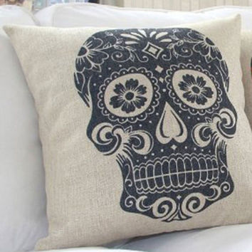 Mexican Sugar Skull Pillow Sham