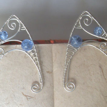 Silver Plated Handmade Wire Wrapped Cornflower Blue Crackle Quartz Elf Ear Cuffs, Wire Weave, Spiral, Elven Ears, LARP