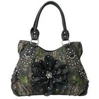 Beautiful! Camo Roomy 3d Flower Shoulder Purse Bag Camouflage (black)