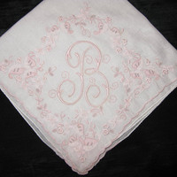 Embroidered Hankies Wedding, Initial B Handkerchief Monogrammed Vintage Embroidery