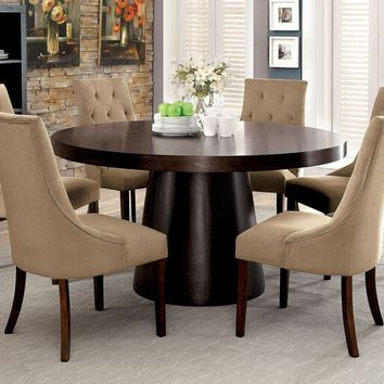 7 pc Havana collection contemporary style espresso finish wood round dining table set with light brown chairs