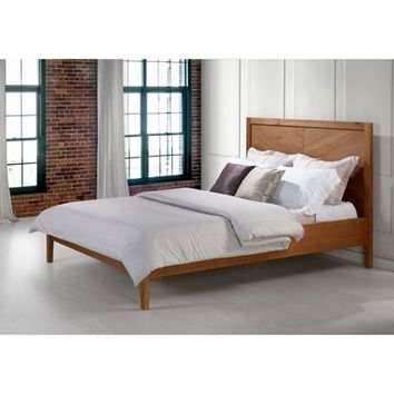 Caramel Chevron Solid Wood Queen Bed