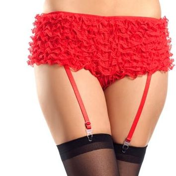 Ruffled Shorts With Garter - Red - Small