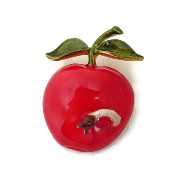 Hattie Carnegie Apple Brooch, Red Fruit Brooch with Worm, Vintage Gold Tone Signed Designer Pin