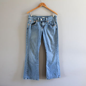 Levi's 515 Waist 29 Vintage Levi's Jeans Low Waist Zip Fly Boot Cut Blue Denim Washed Jeans Women Levis Hipster 29X27 #P034A