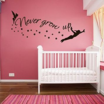 kau409 Peter Pan wall decal, peter pan wall sticker, wall decal nursery,wall decal kids,wall sticker disney,Tinkerbell Pirate Never Grow Up
