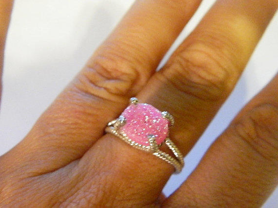 Pink druzy ring sterling silver size 6  3/4