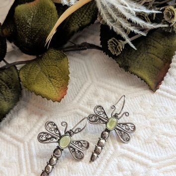 Artisan Crafted Sterling Silver Peridot Filigree Dragonfly Earrings