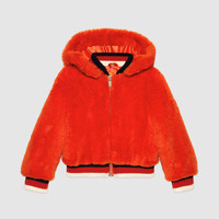 Gucci Children's eco fur bomber jacket with feline