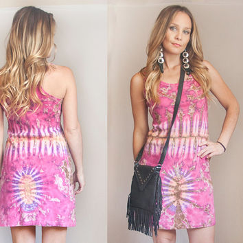 Pink Vintage Tie Dye Mini Dress Small XS - Cotton Summer Dress  | Bohemian Short Sleeveless Tank Dress | Festival Hippie Boho 60s 70s Style