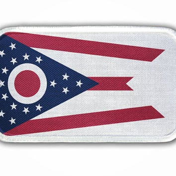 Patch - Ohio State Flag - Heat Seal / Iron on Patch for jackets, shirts, tote bags, hats, beanies, cases and more!!