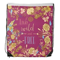 Hipster Live Wild and Free Deep Red Floral Pattern Drawstring Backpack