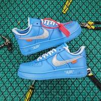 Off White X Air Force 1 Low 07 Mca University Blue/silver - Best Online Sale