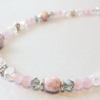 Anklet with Pink Glass Cat's Eye Beads Grey Swarovski Crystal Czech Glass Frosted Clear Crystal Silver-Plated Flowers Lobster Clasp